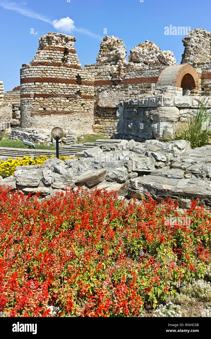 Ruins of Ancient Fortifications at the entrance of old town of Nessebar, Burgas Region, Bulgaria - Stock Image