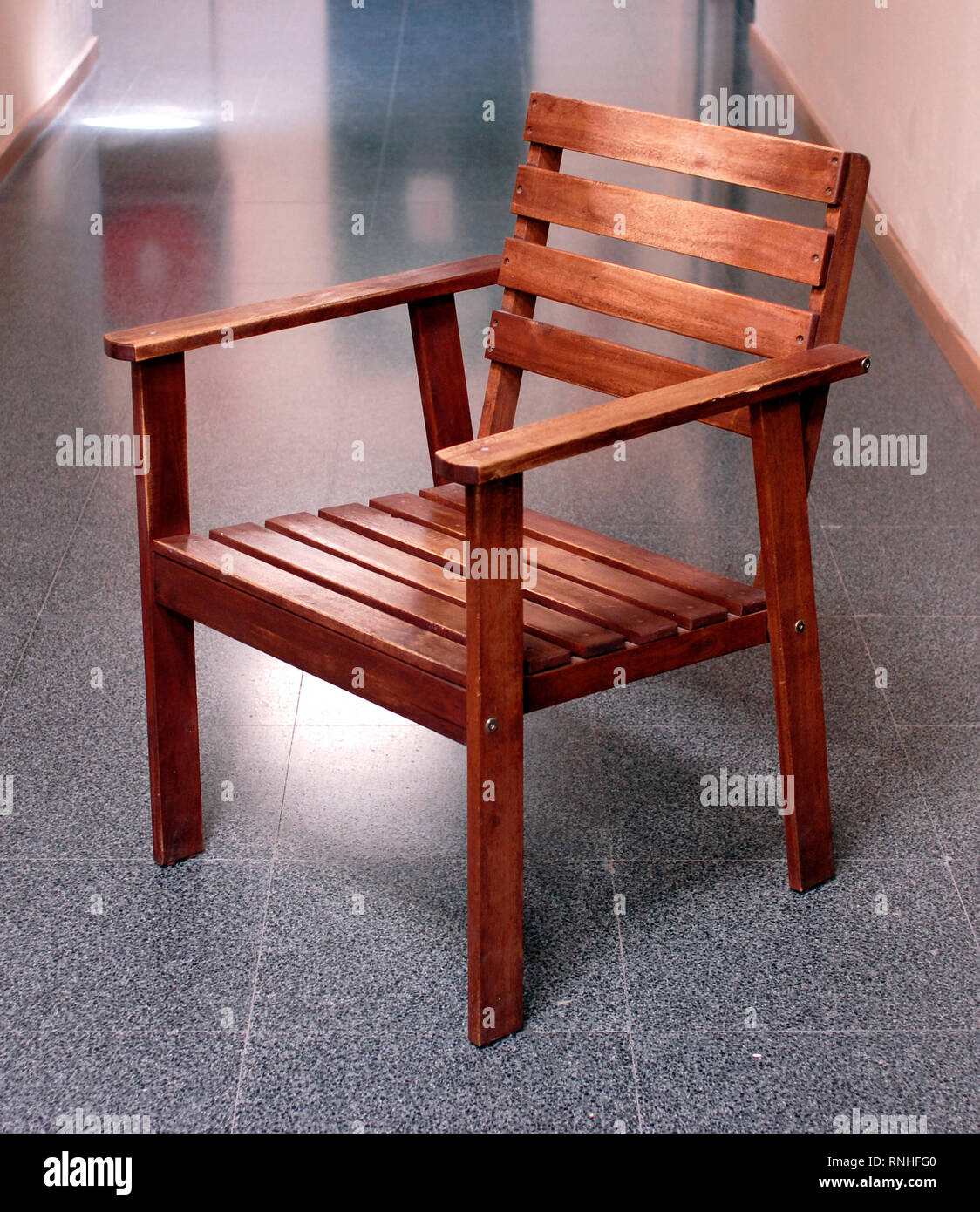 Wooden Chair For Terrace Discontinued From Ikea Stock Photo