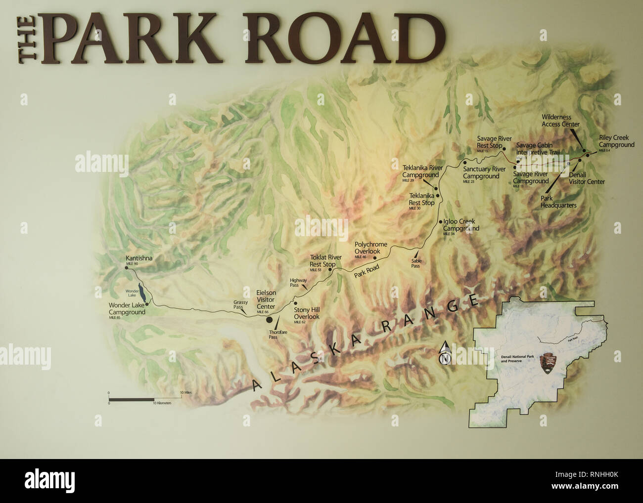Map of the Park Road from the Eielson Visitor Center, Denali ... Denali National Park Map on