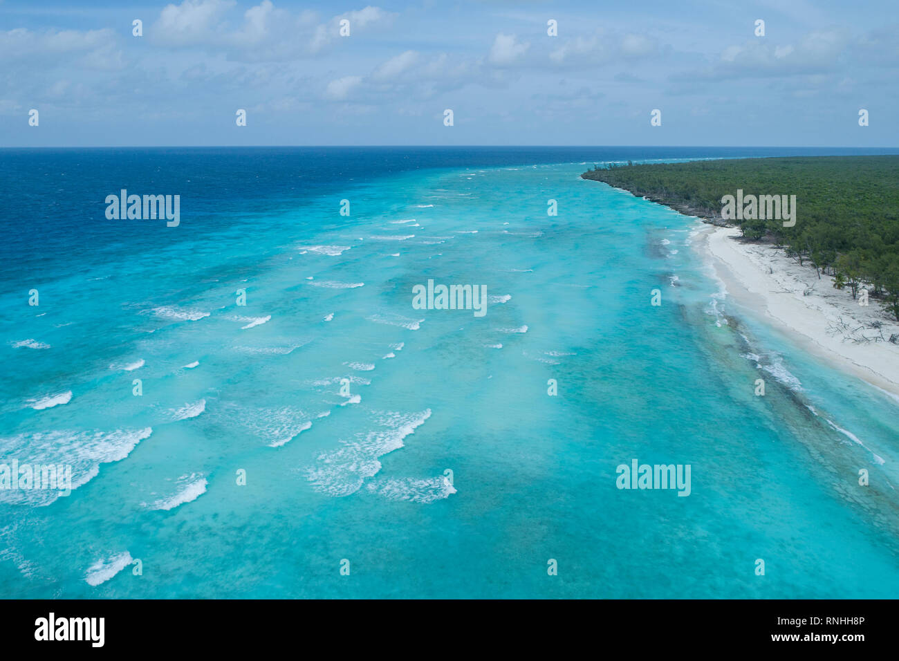 Aerial of Aldabra Atoll, Seychelles - Stock Image