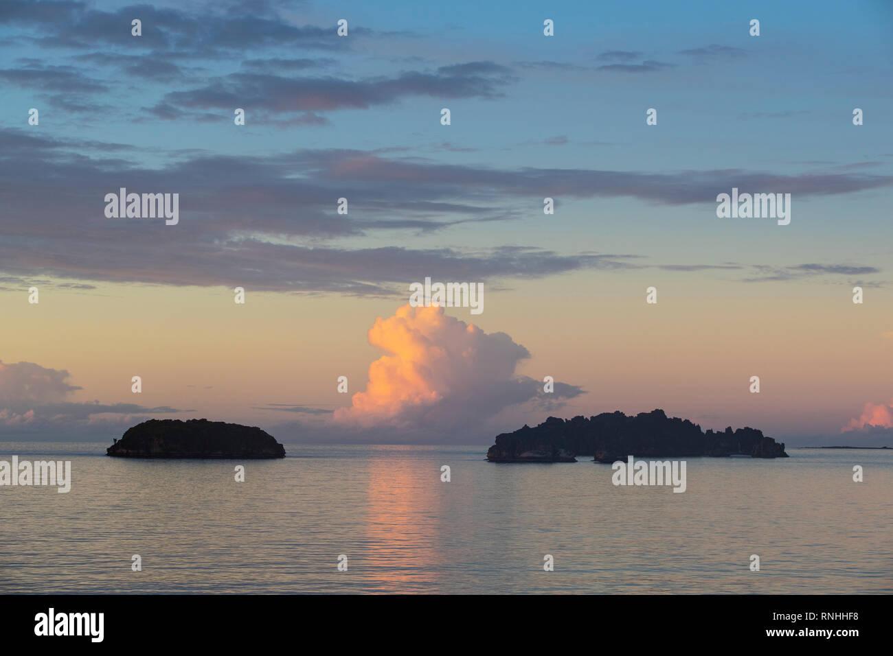 Sunset on islands of Nosy Hara, Madagascar - Stock Image