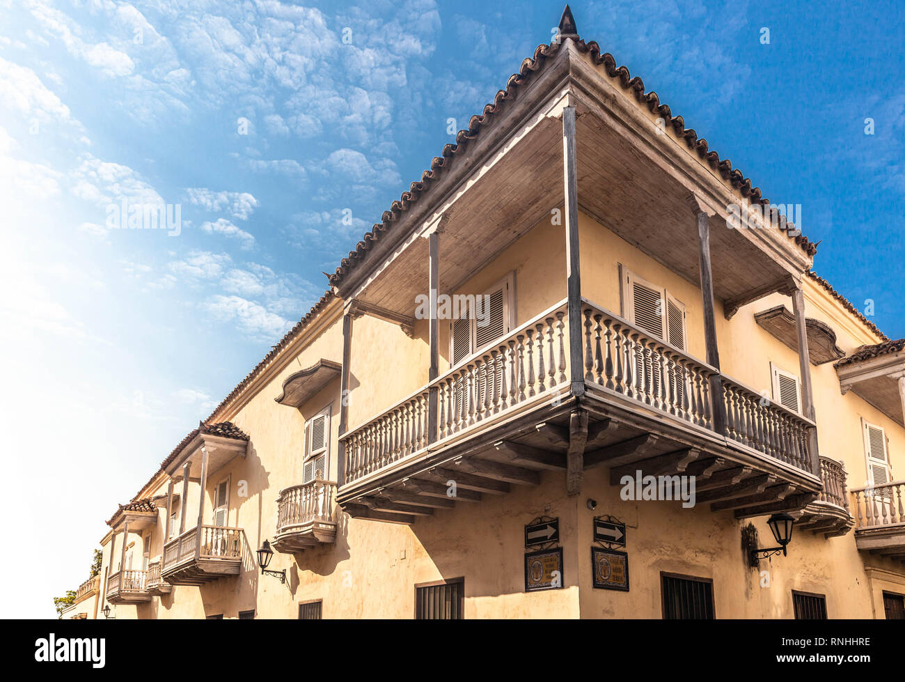 Corner house and balcony, Cartagena de Indias, Colombia. - Stock Image