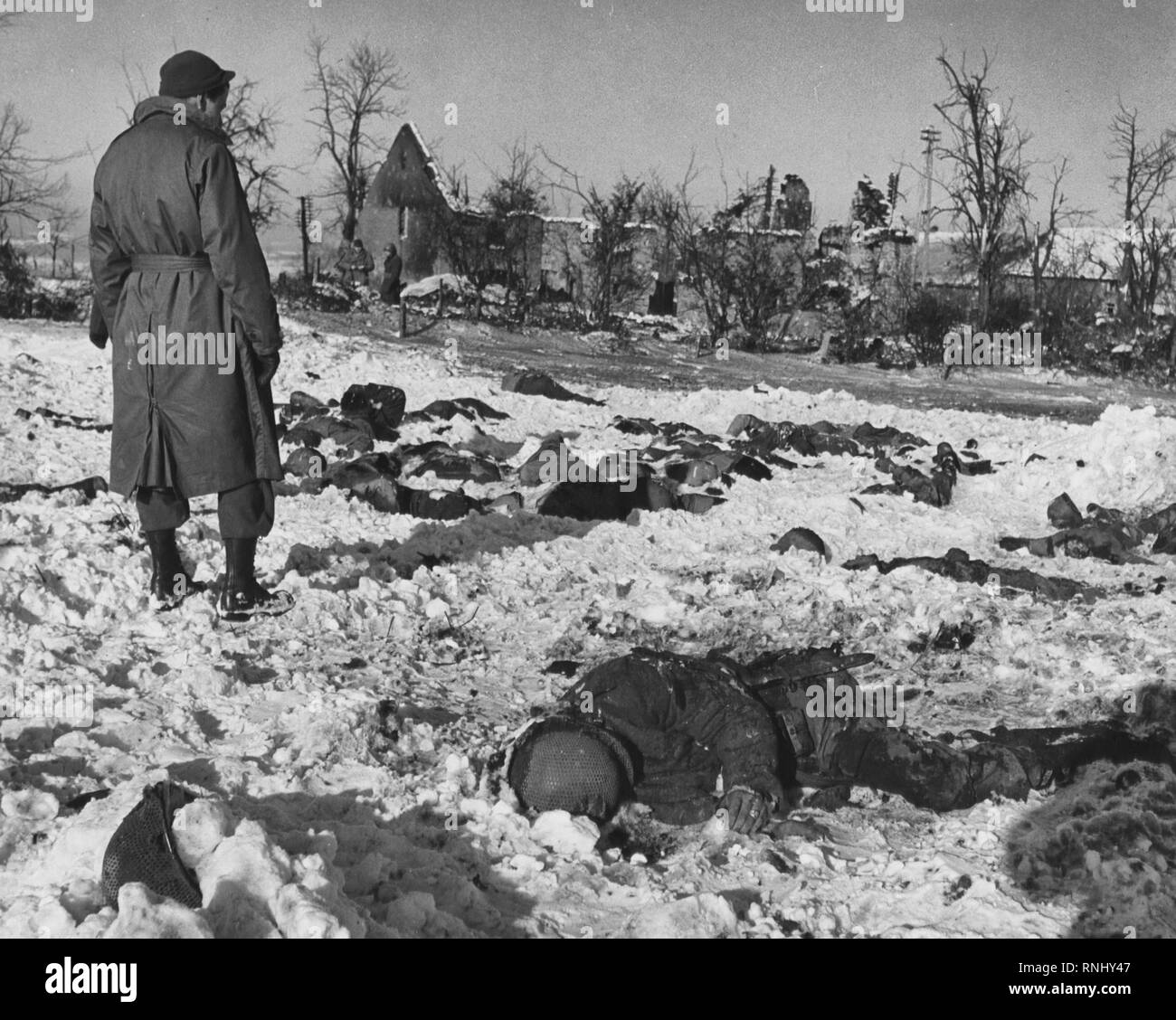 Malmedy massacre - approximately 70 members of Battery B killed after captured . Fair J. Bryant was traveling with Battery A of 285th at time of massacre. Occurred at beginning of Battle of the Bulge - Stock Image