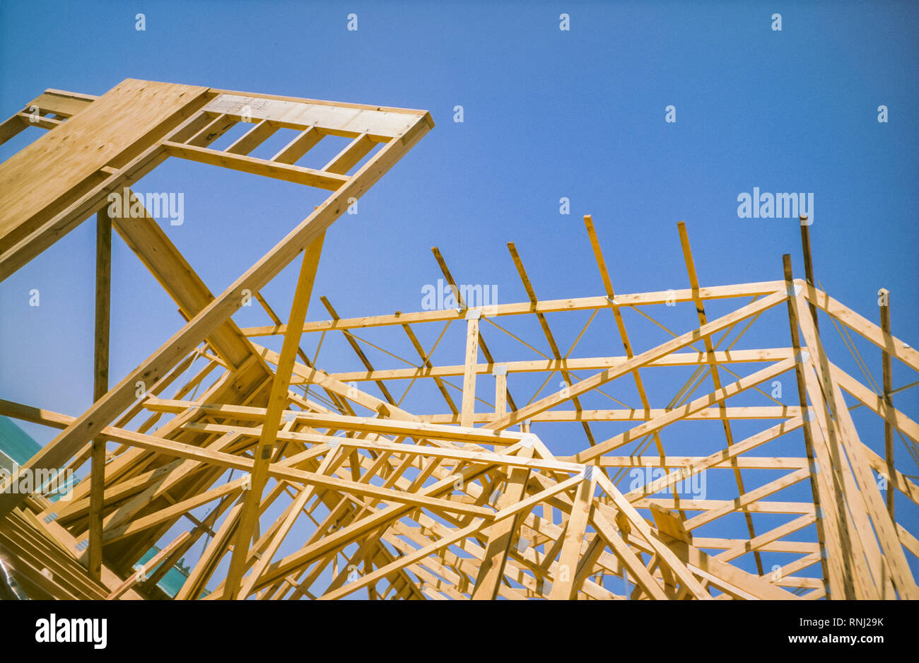 Incomplete building construction, roof detail - Stock Image