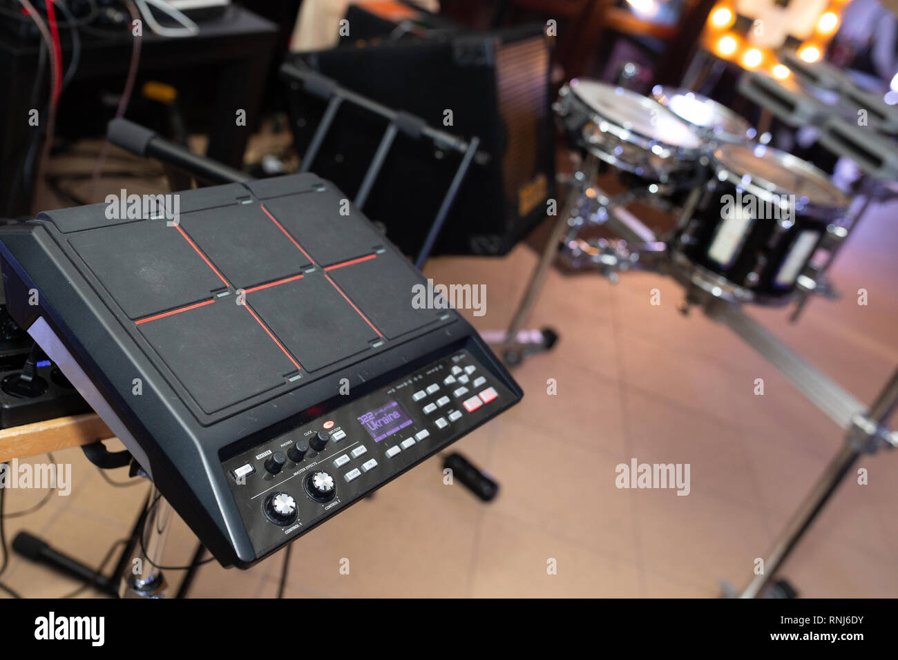 close-up equipment at the disco in the club - Stock Image