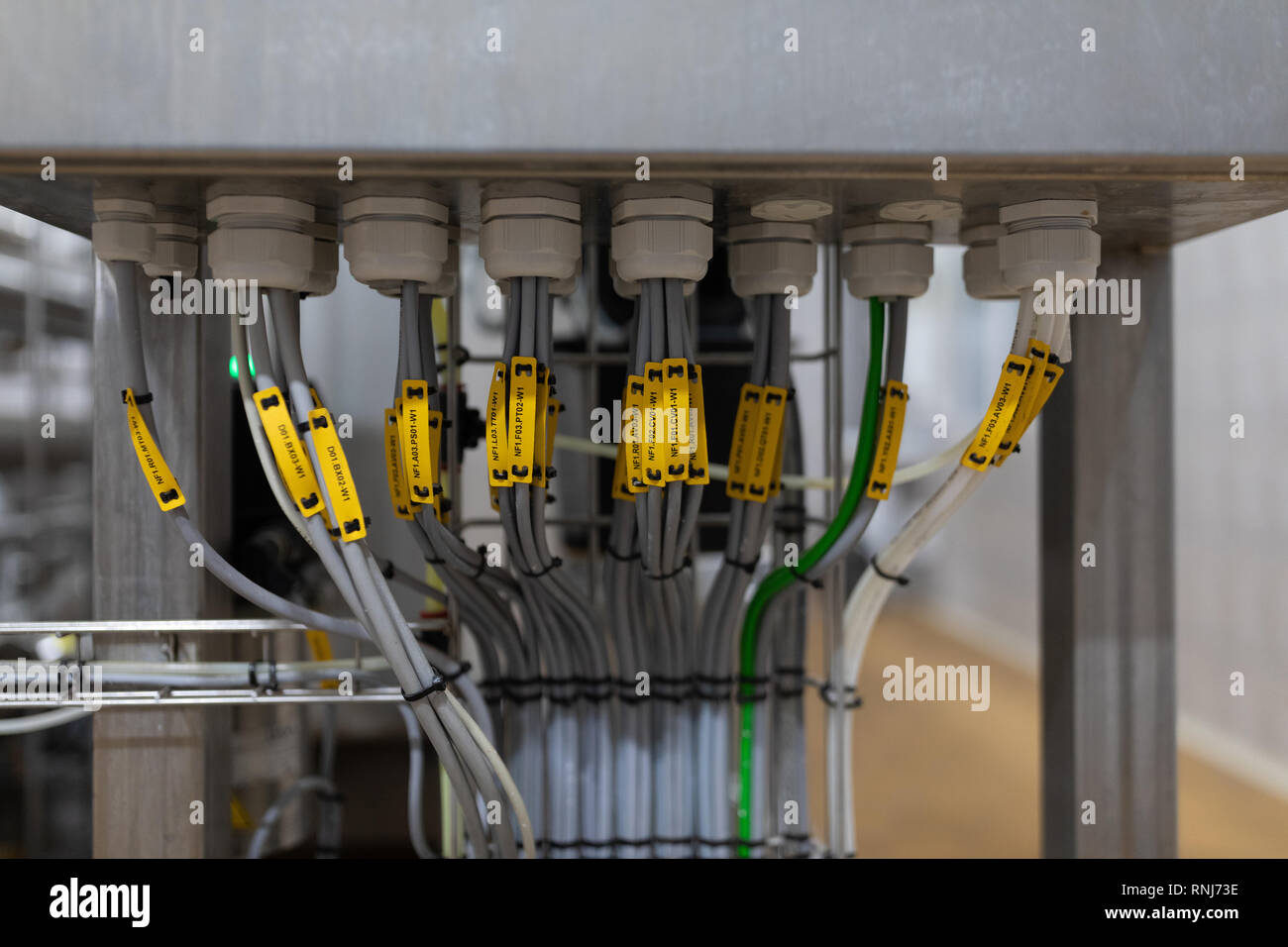 Neat Bundles Of Wires Are Tied With Bundles And Signed Stock