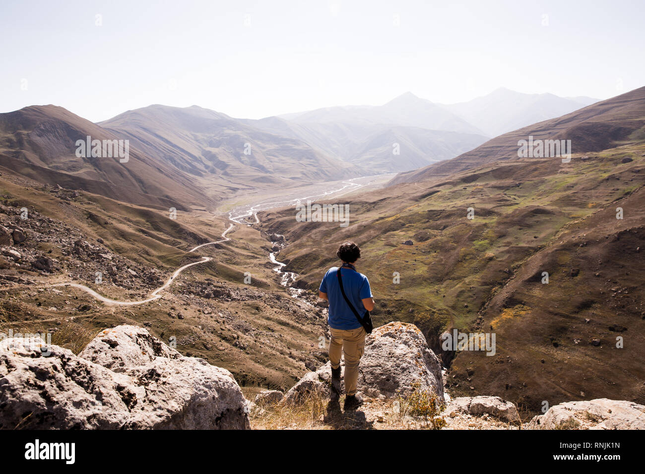 Overlooking  valley outside of Quba, Azerbaijan. You can often see wild eagles flying overhead. - Stock Image