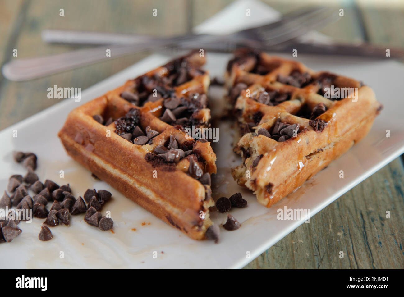 Chocolate Chip Waffle with whipped cream - Stock Image