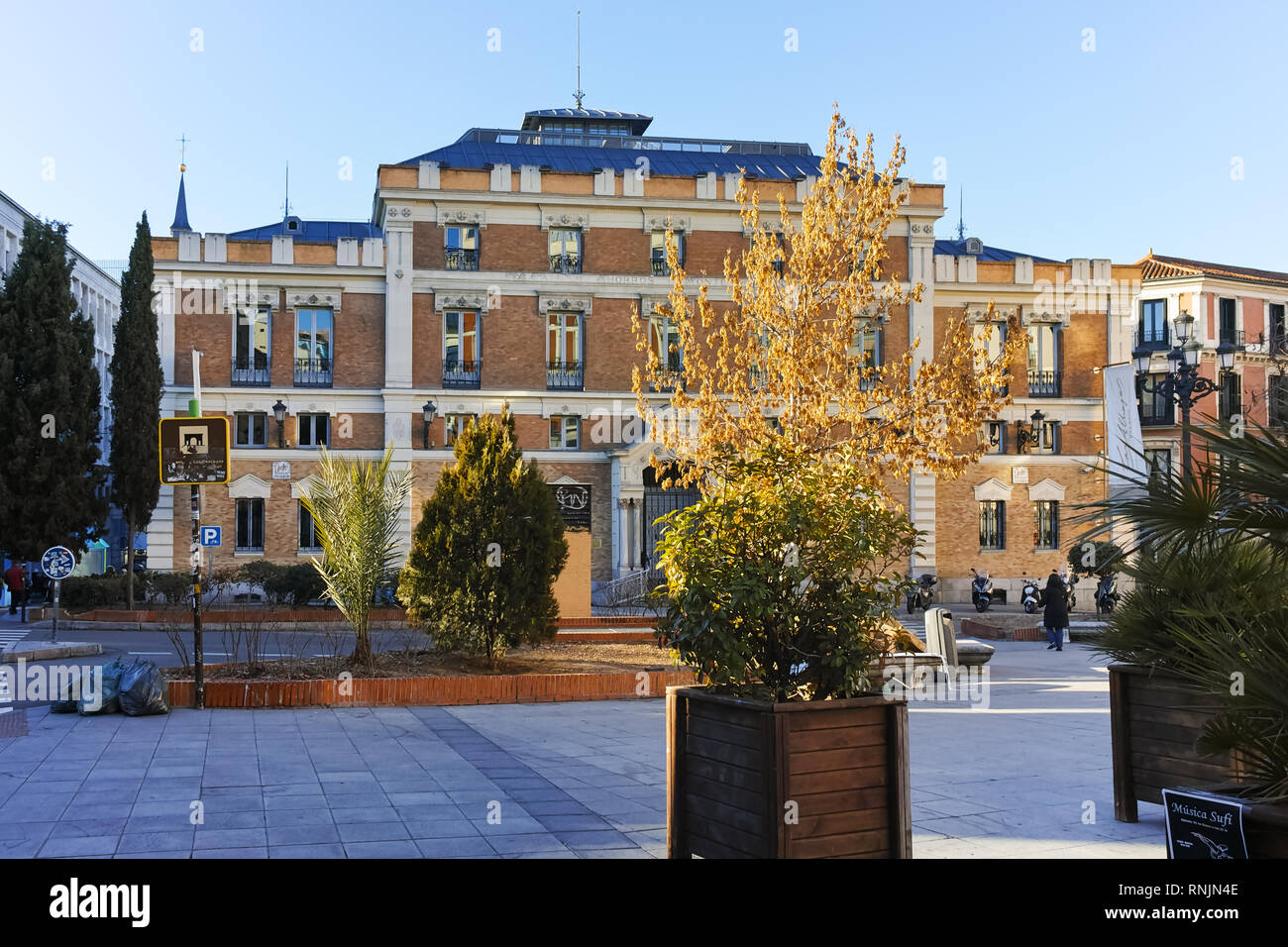 MADRID, SPAIN - JANUARY 22, 2018:  Amazing morning view of Plaza de San Martin in Madrid, Spain - Stock Image