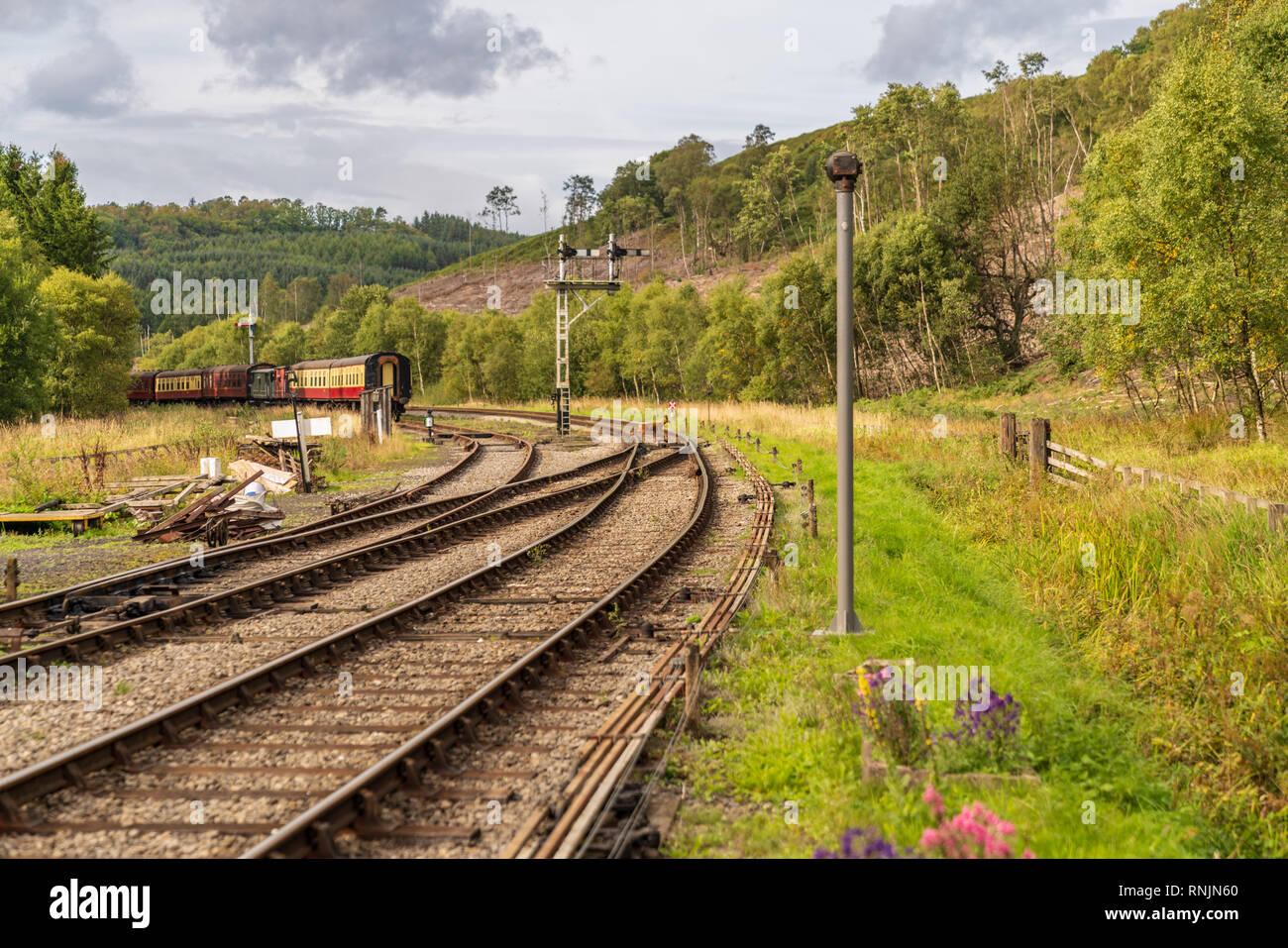 Near Levisham, North Yorkshire, England, UK: September 13, 2018: North Yorkshire Moors Railway waggons near the Levisham Railway station - Stock Image