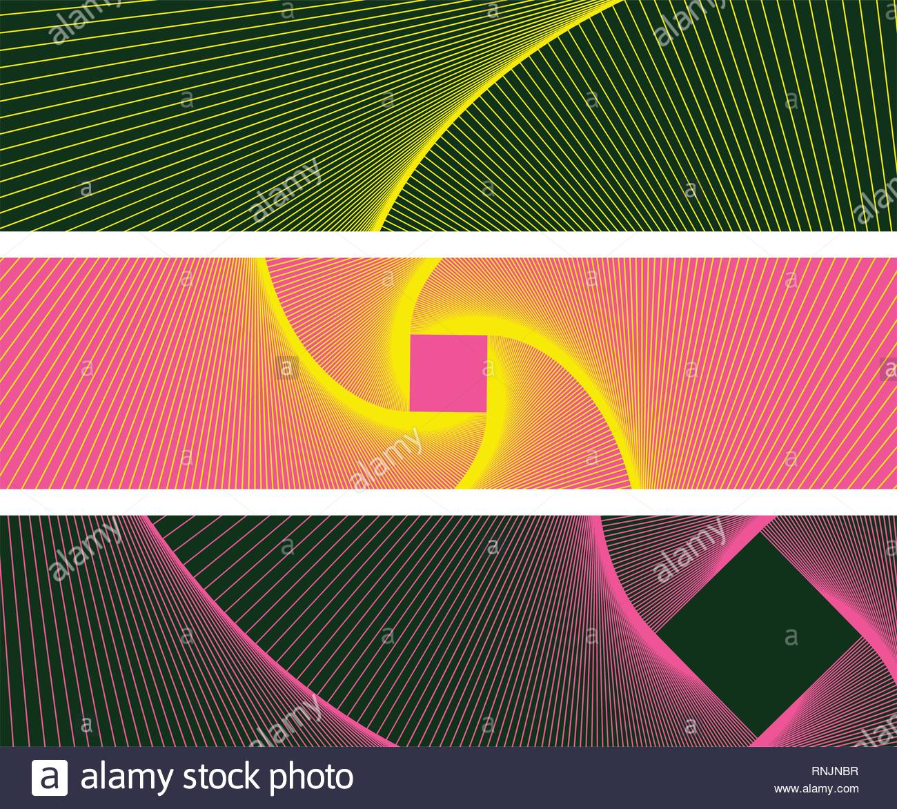 graphic abstract banners with linear vortex pattern in yellow pink shades - Stock Vector