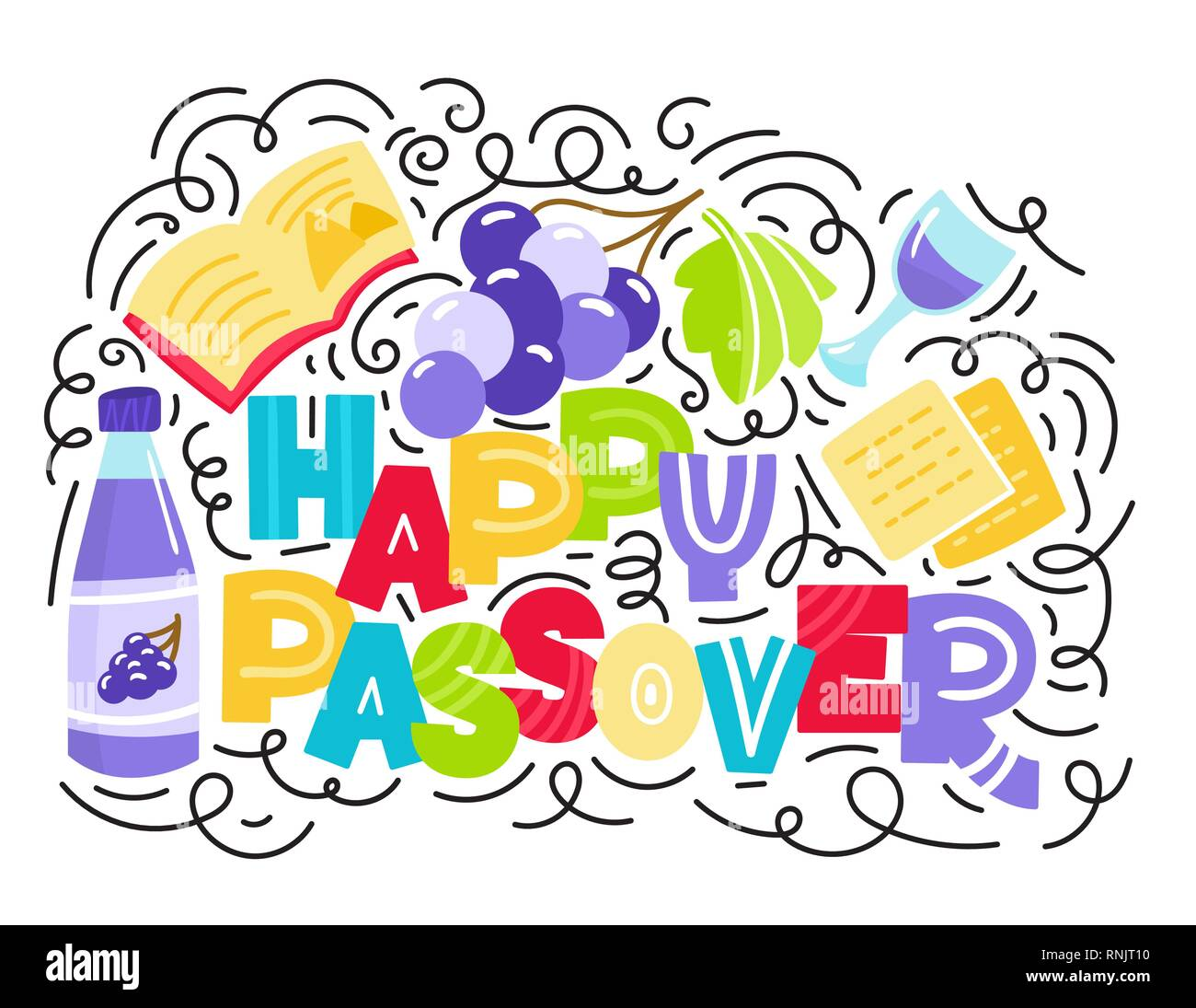Passover greeting card (Jewish holiday Pesach). Hebrew text: happy Passover. Doodle style vector illustration. Isolated on white background. - Stock Vector