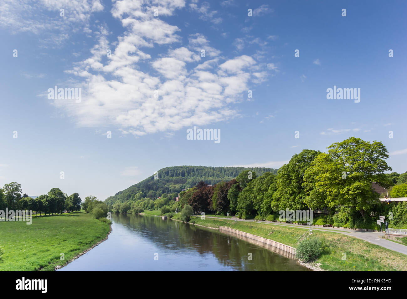 River Weser and the landscape of the Weserbergland near Hoxter, Germany Stock Photo