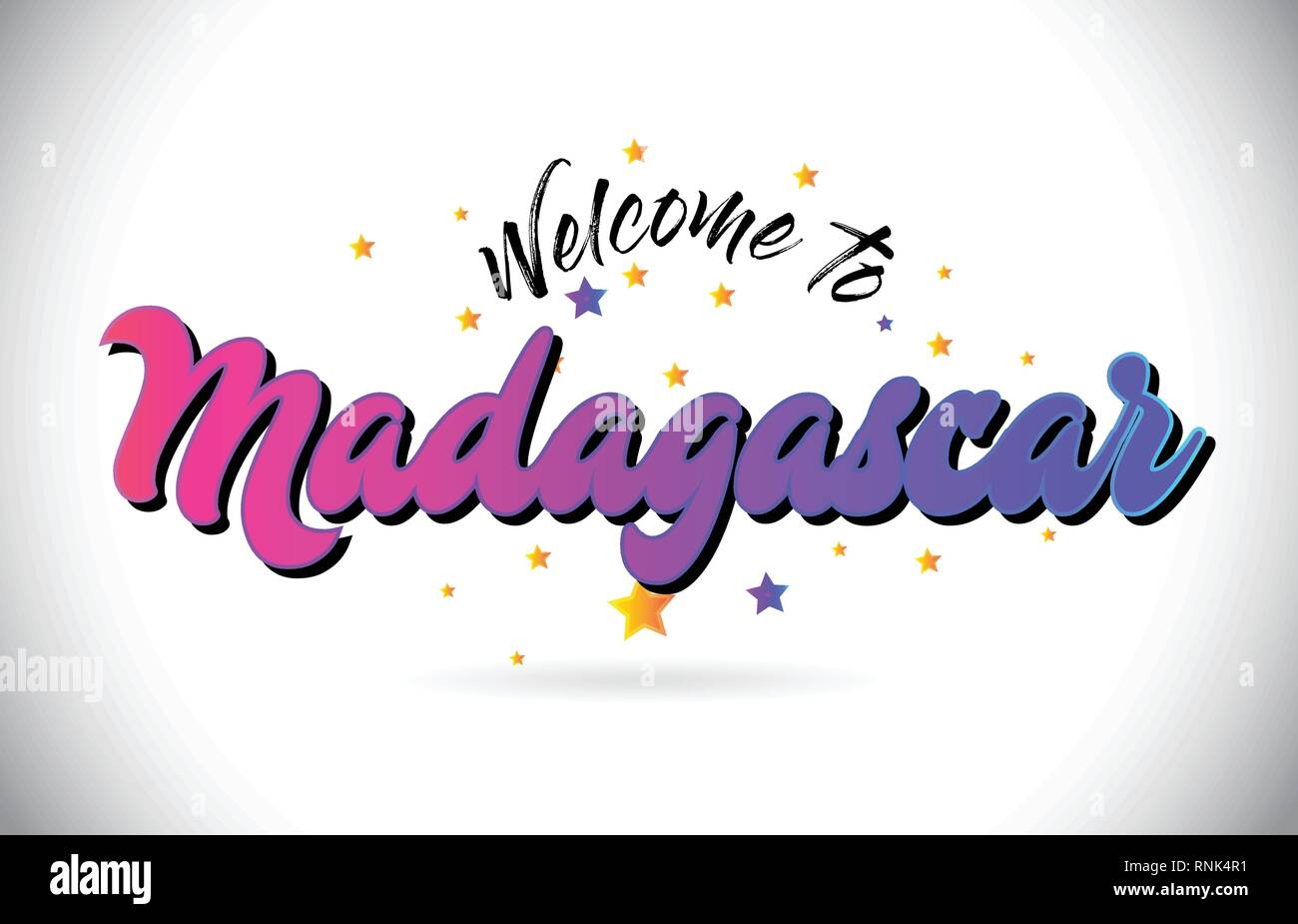 Madagascar Welcome To Word Text with Purple Pink Handwritten