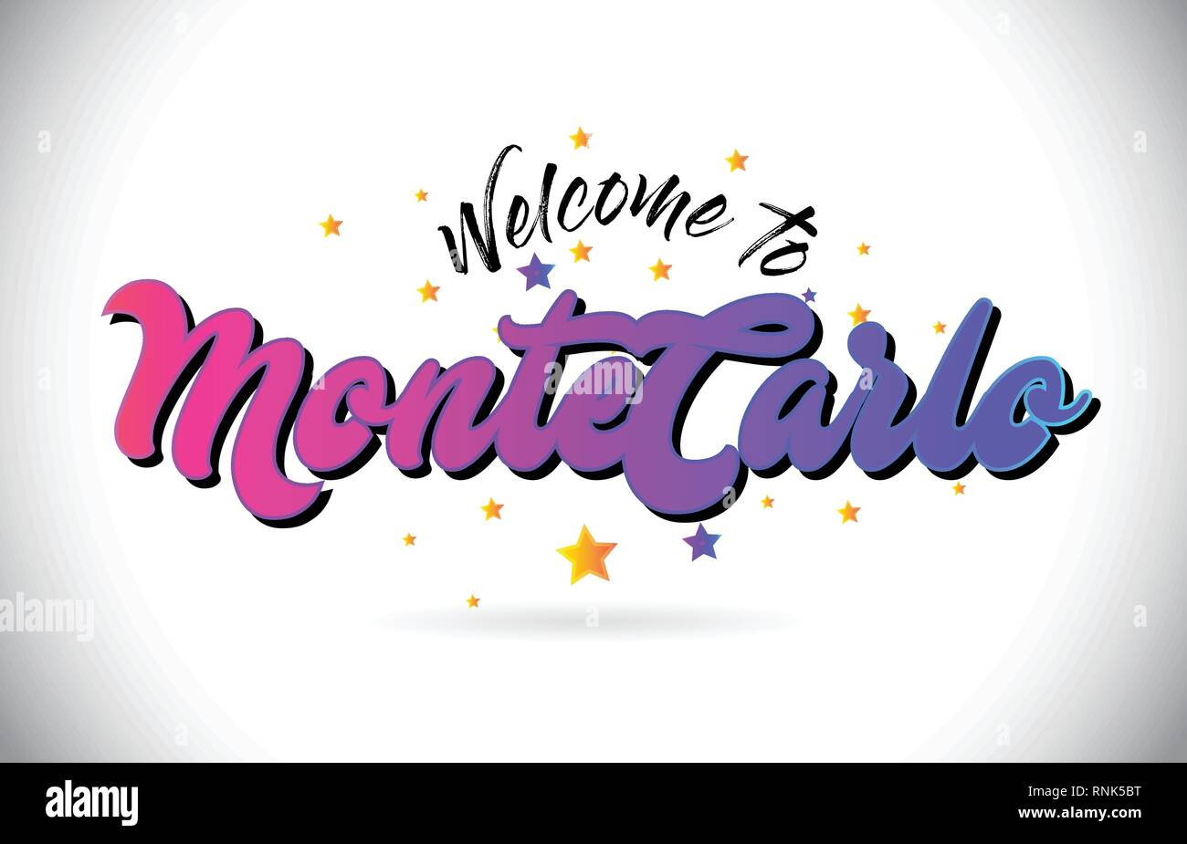 MonteCarlo Welcome To Word Text with Purple Pink Handwritten Font and Yellow Stars Shape Design Vector Illusration. - Stock Vector