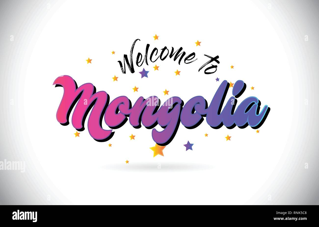 Mongolia Welcome To Word Text with Purple Pink Handwritten Font and Yellow Stars Shape Design Vector Illusration. - Stock Vector
