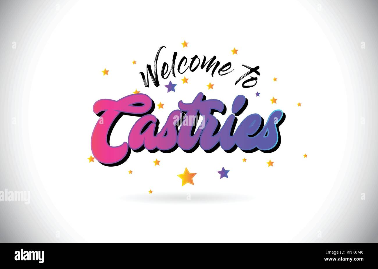 Castries Welcome To Word Text with Purple Pink Handwritten Font and Yellow Stars Shape Design Vector Illusration. - Stock Image