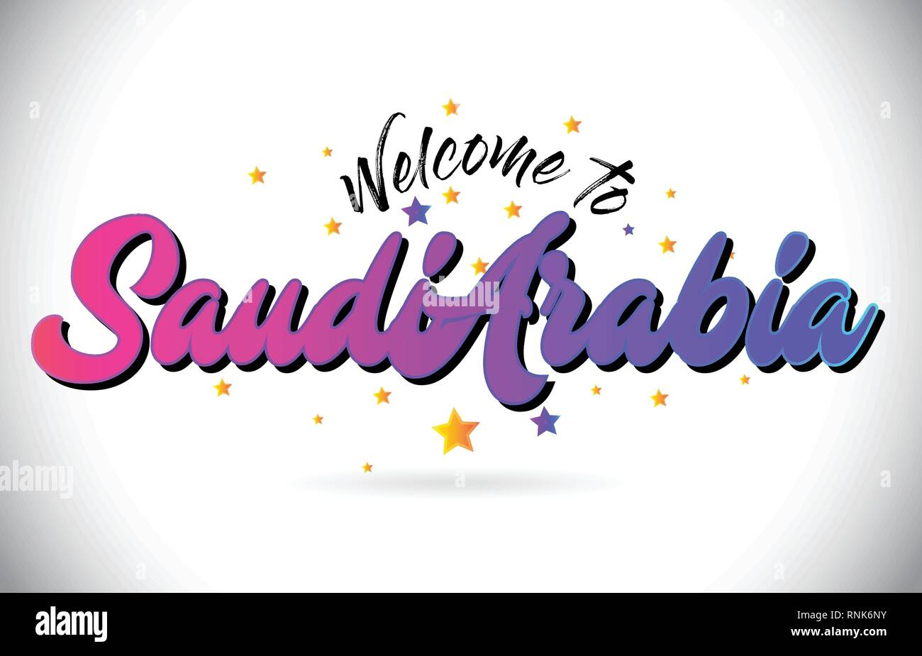 SaudiArabia Welcome To Word Text with Purple Pink Handwritten Font and Yellow Stars Shape Design Vector Illusration. - Stock Image