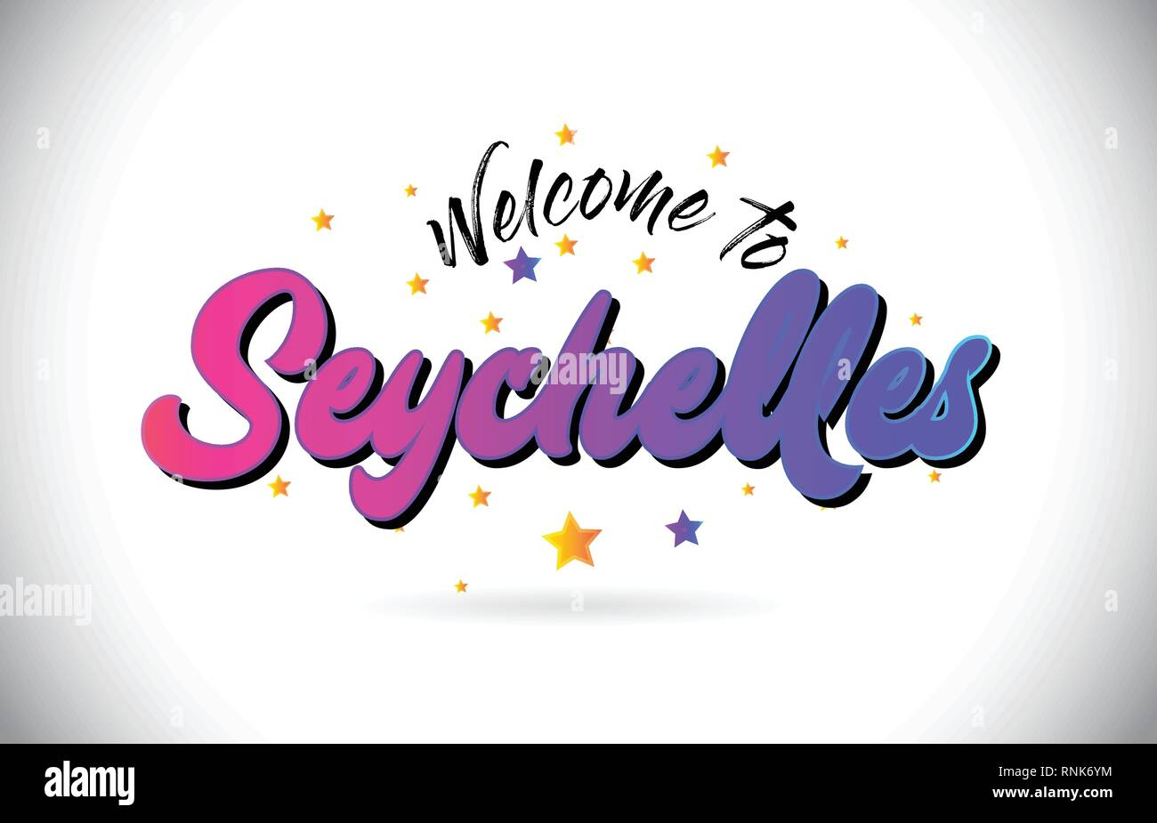 Seychelles Welcome To Word Text with Purple Pink Handwritten Font and Yellow Stars Shape Design Vector Illusration. Stock Vector