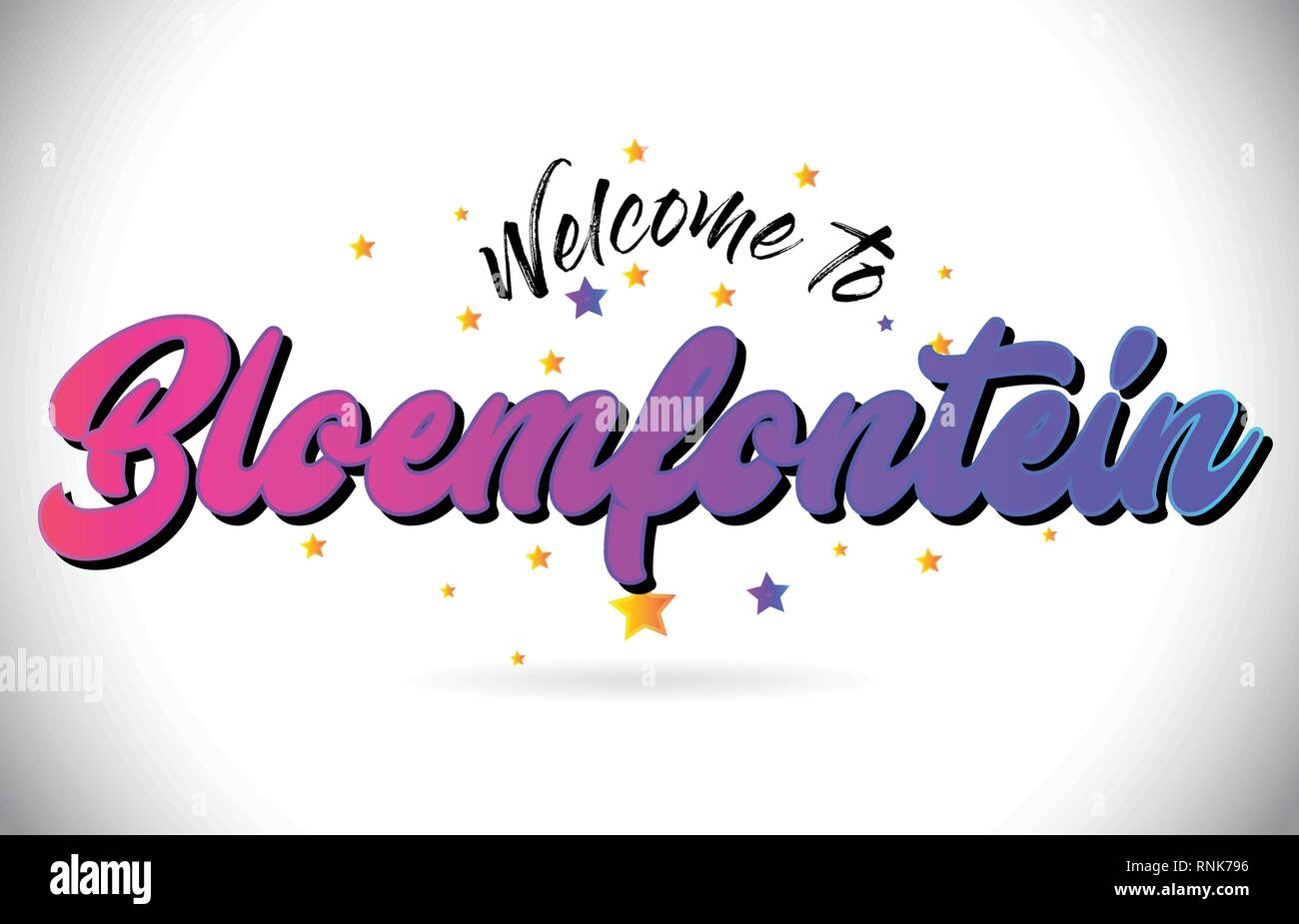 Bloemfontein Welcome To Word Text with Purple Pink Handwritten Font and Yellow Stars Shape Design Vector Illusration. - Stock Image