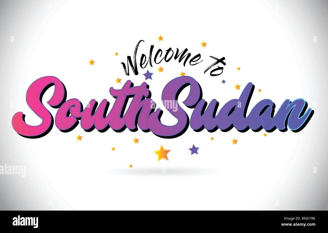 SouthSudan Welcome To Word Text with Purple Pink Handwritten Font and Yellow Stars Shape Design Vector Illusration. - Stock Image