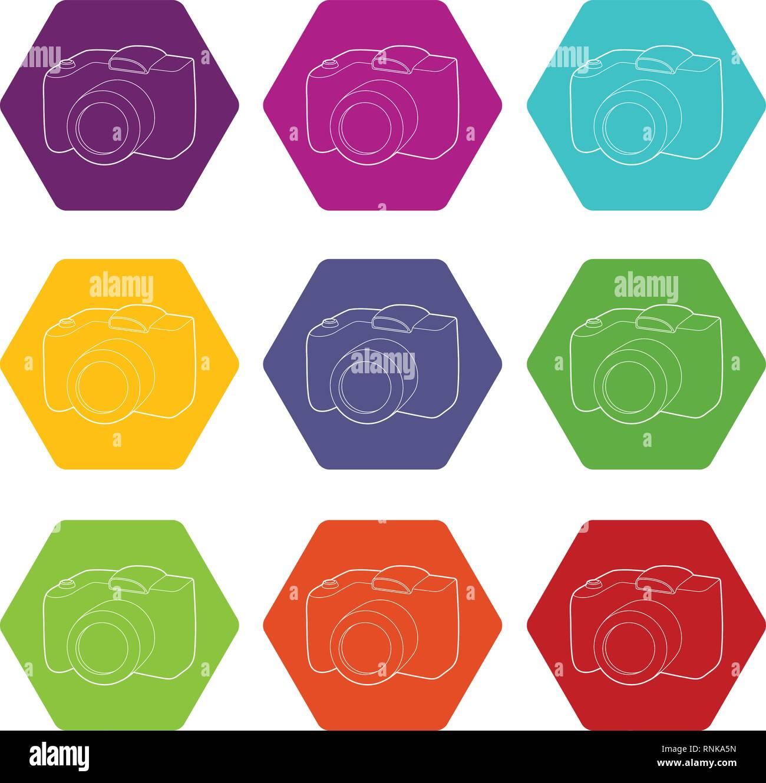 SLR camera icons set 9 vector - Stock Vector