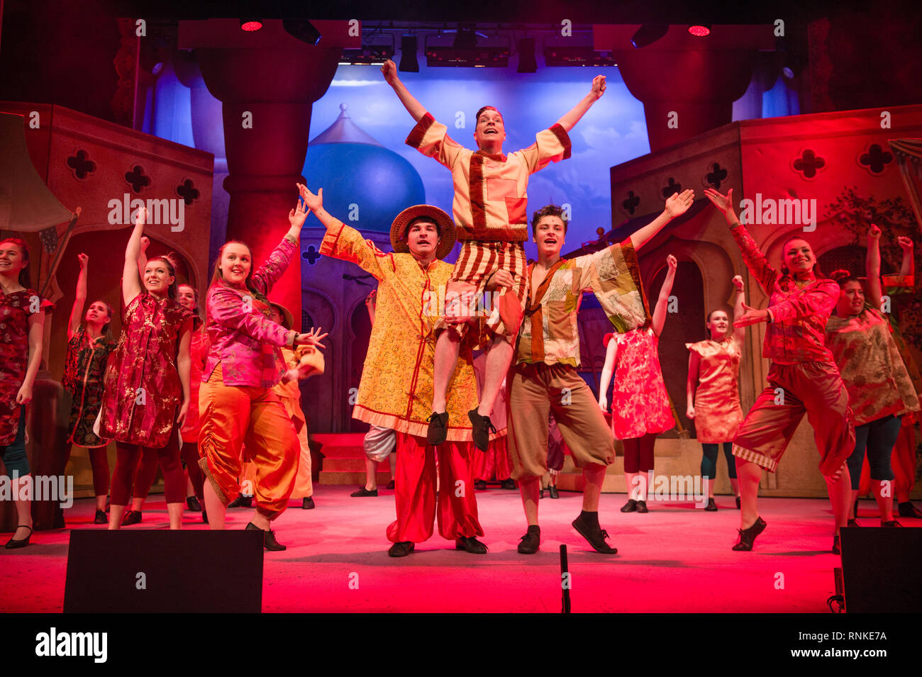 Traditional British pantomime Christmas family entertainment : an amateur non-professional  local theatre company (The Wardens) performing on stage at Aberystwyth Arts Centree. January 2019 Stock Photo