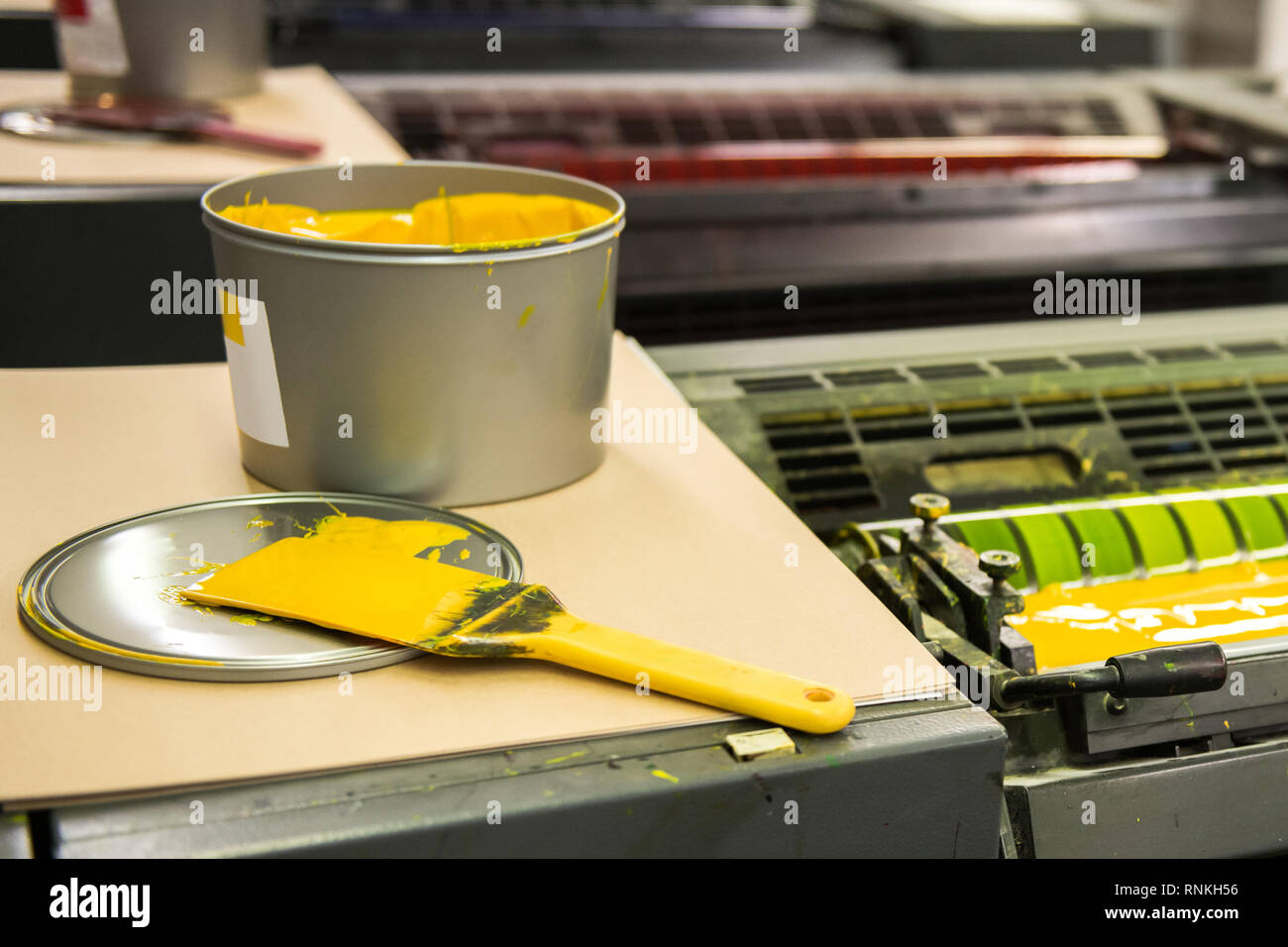 Detail of rollers in offset printing machine - Stock Image