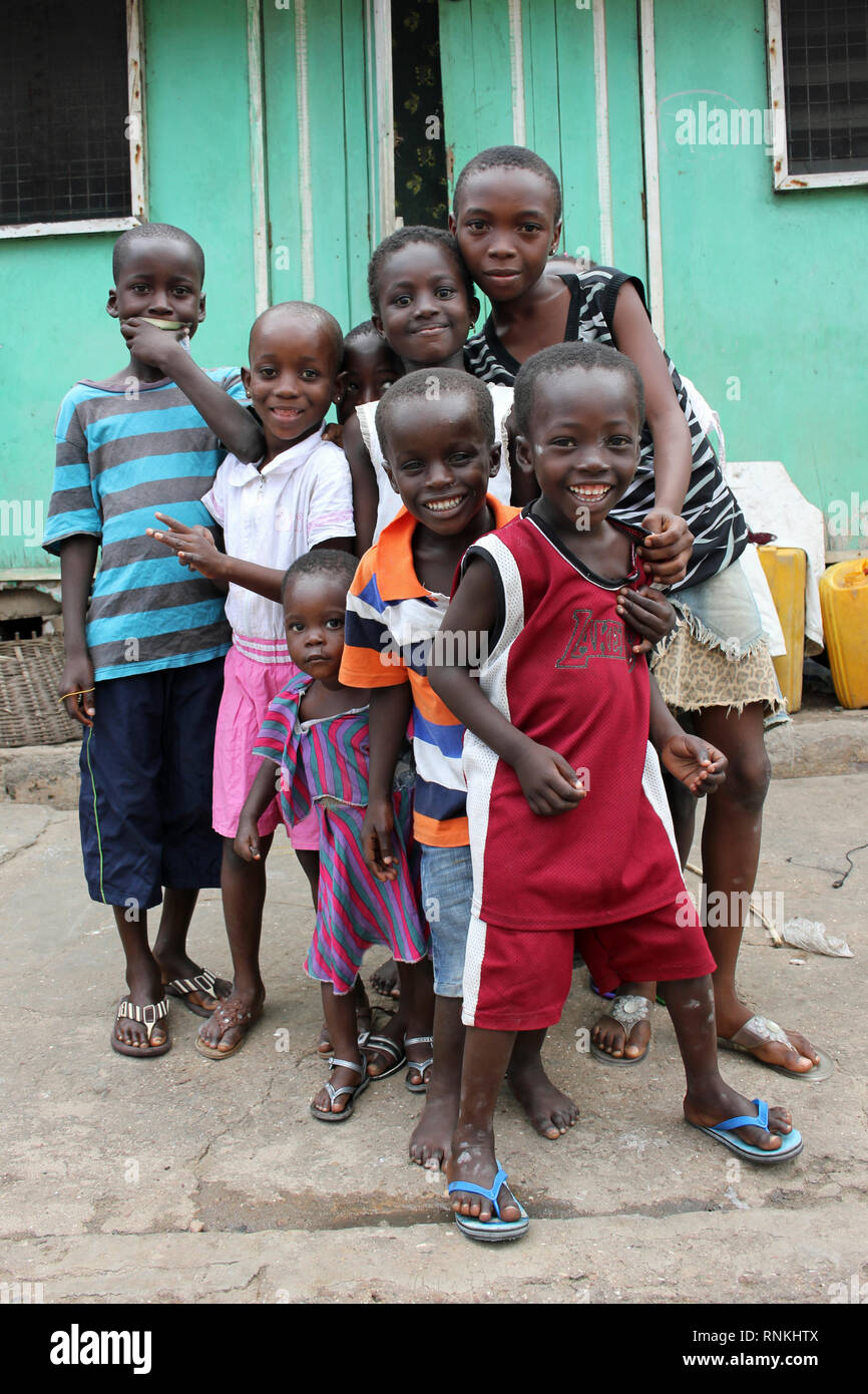 Kids in Jamestown, Ghana - Stock Image