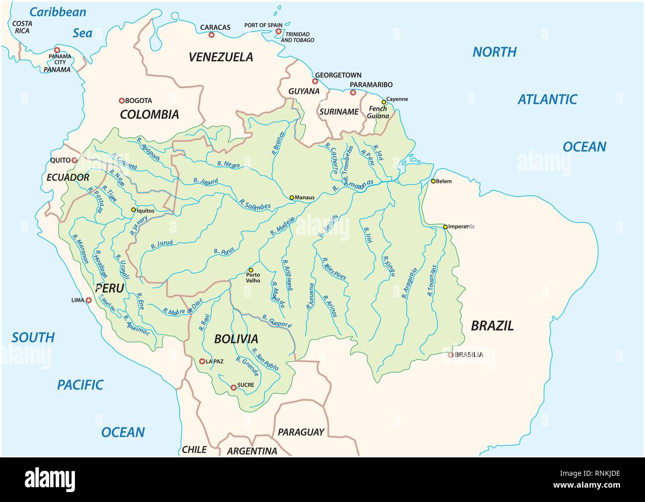 Vector map of the Amazon River drainage basin - Stock Image