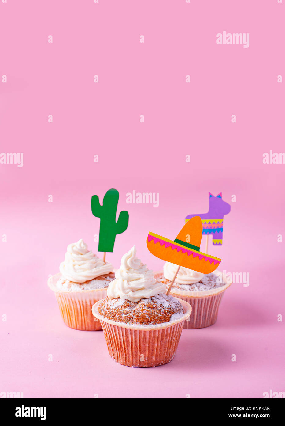 Cupcakes for celebrating Mexican party fiesta - Stock Image