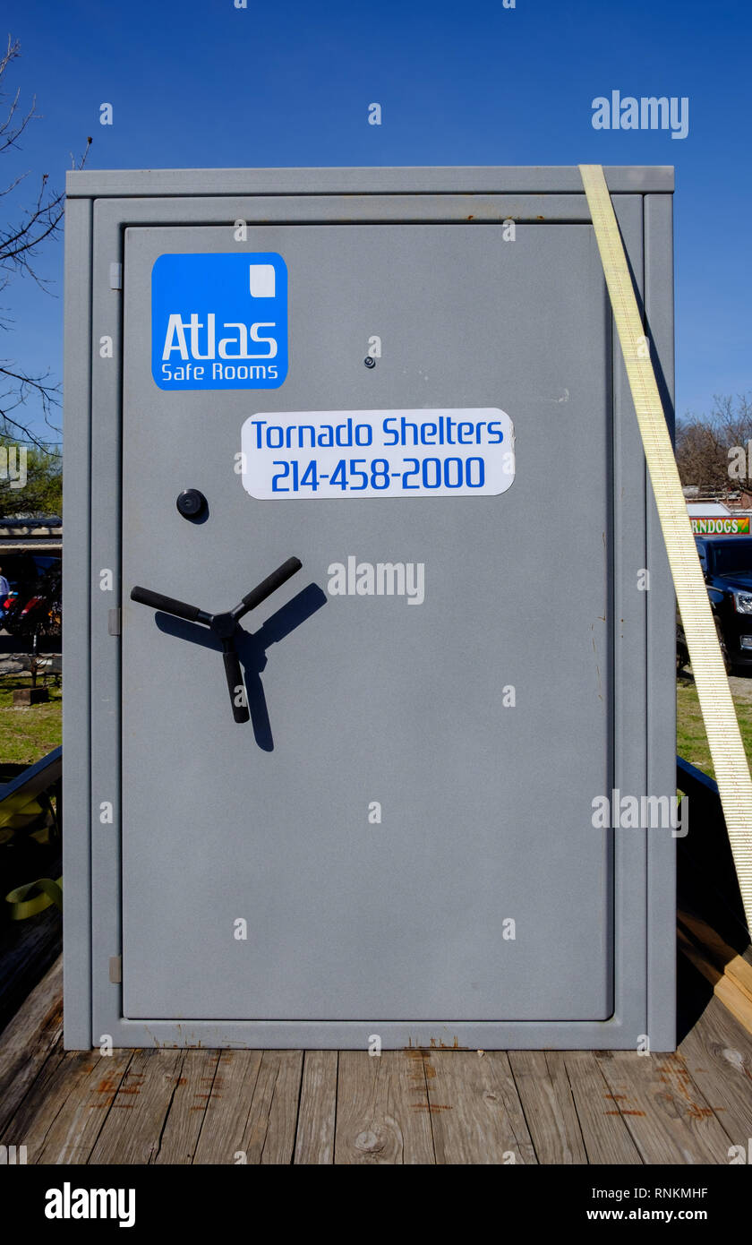Atlas Tornado Shelter for sale at Third Monday Trade Days Market, McKinney Texas. March 2018 - Stock Image