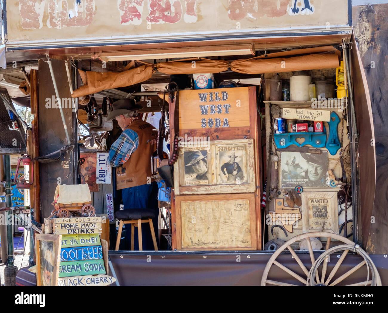 Wild West Soda Market Booth at Third Monday Trade Days Market, McKinney Texas. March 2018 - Stock Image