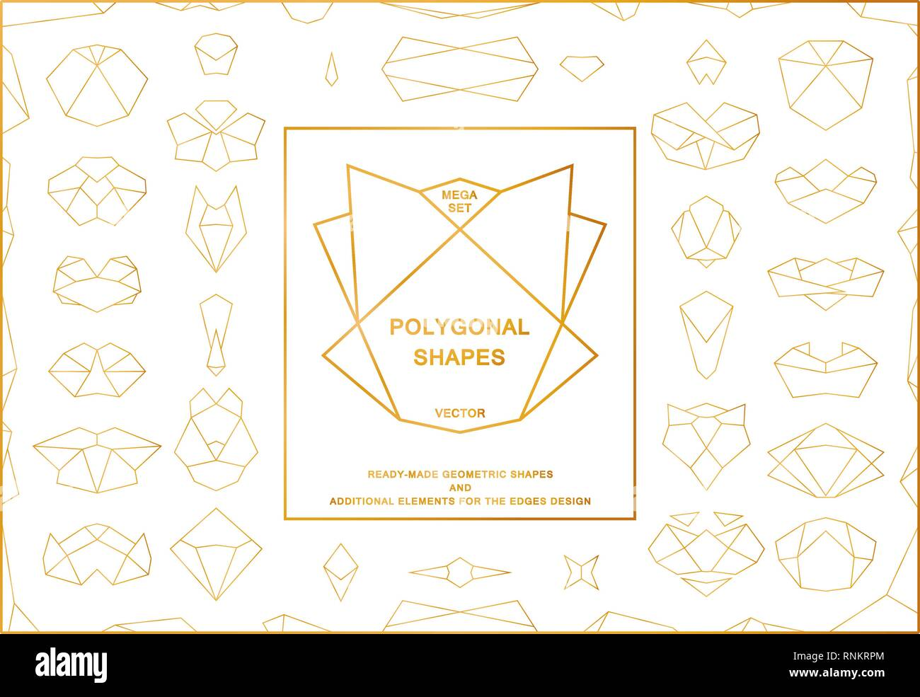 Set of golden polygonal frames and elements for the edges design. Vector template - Stock Image