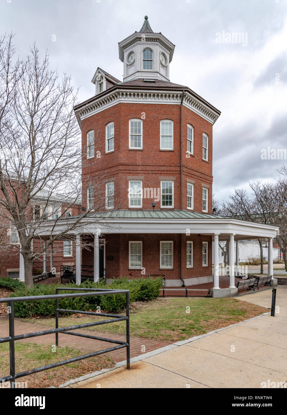 The octagonal Muster House at Boston Navy Yard, Boston, Massachusetts, USA - Stock Image