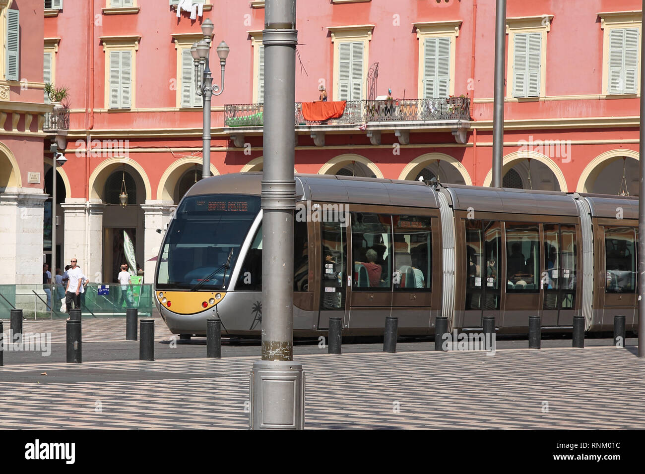 Tram at Place Massena, Nice, South of France - Stock Image