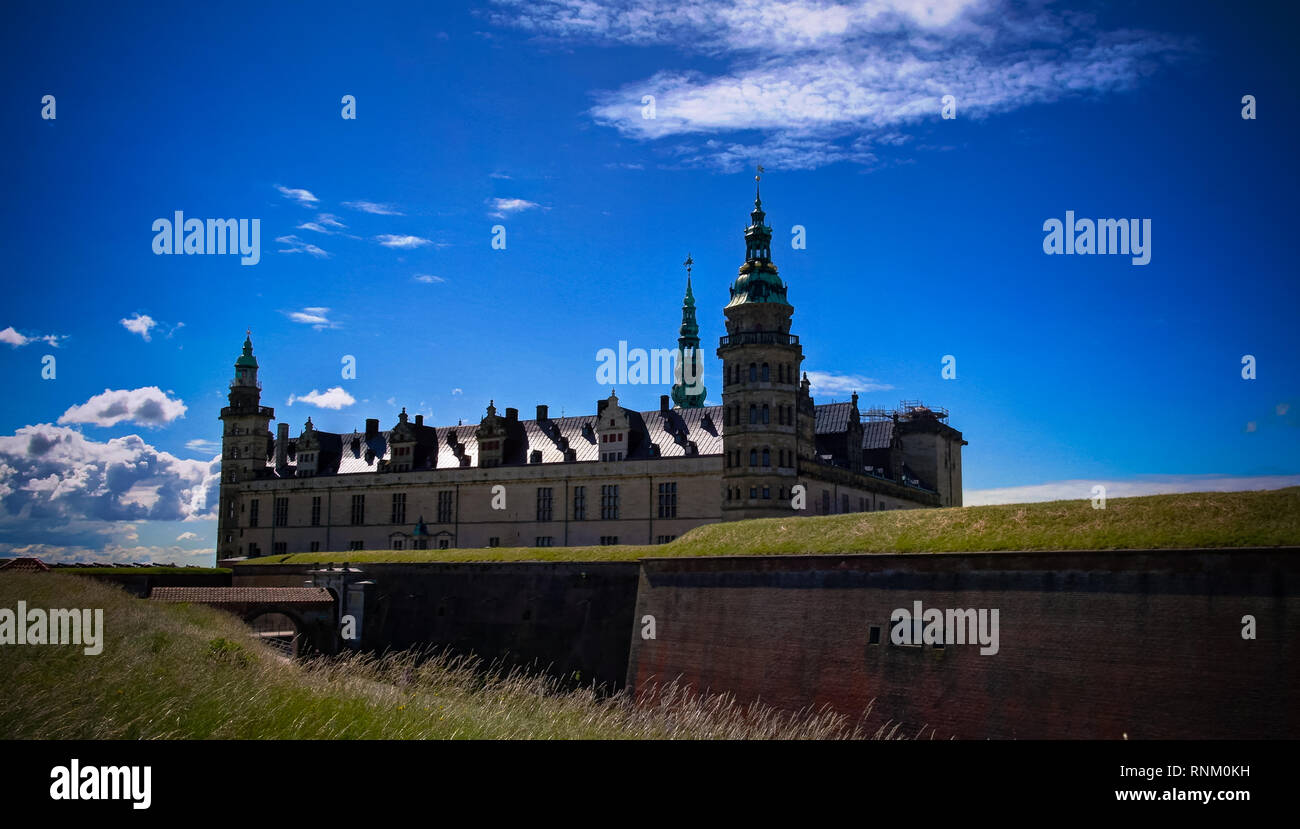 panorama of Kronborg castle at Helsingor, Denmark Stock Photo