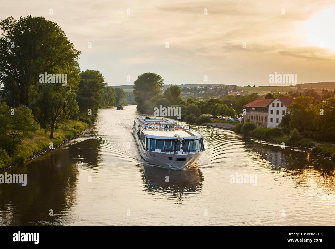 Tourist ship on the river main. Bavaria, Germany. - Stock Image
