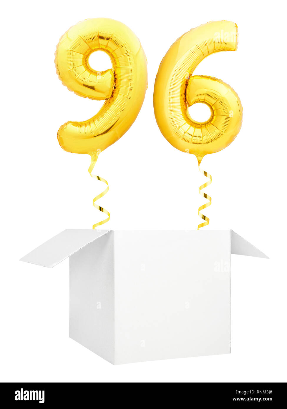 Golden number ninety six inflatable balloon with golden ribbon flying out of blank white box isolated on white background Stock Photo