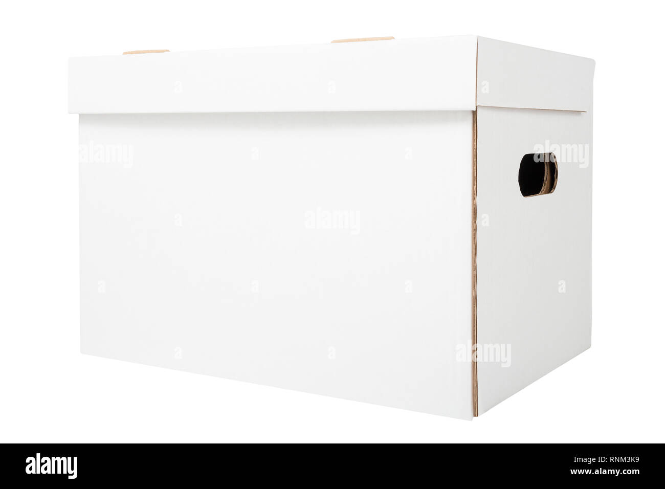 White cardboard box isolated on white background. White file box for bookkeeping - Stock Image