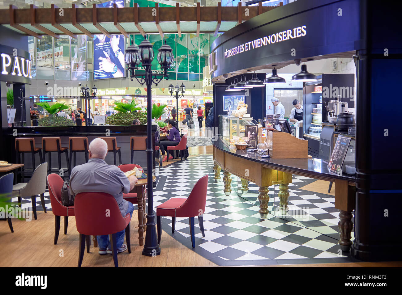 SINGAPORE - CIRCA NOVEMBER, 2015: Paul Singapore Changi Airport. Paul is a French chain of bakery/cafe restaurants - Stock Image