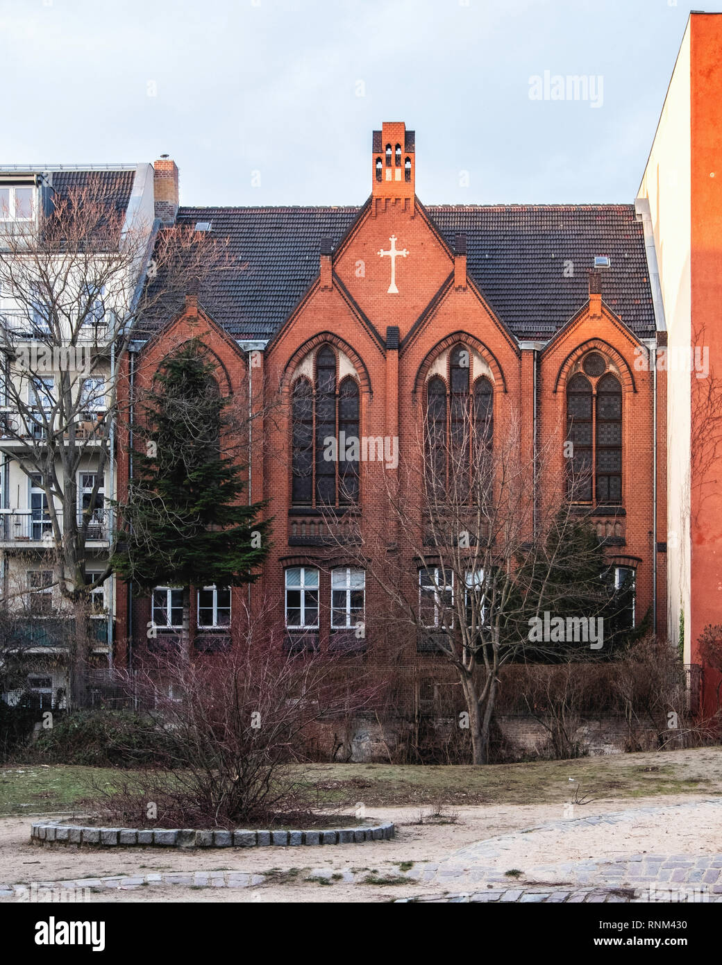 Berlin, Mitte, Church of the Redeemer Protestant-Methodist, designed in 1905  by Carl Breuer. Historic listed North German Brick Gothic style building - Stock Image