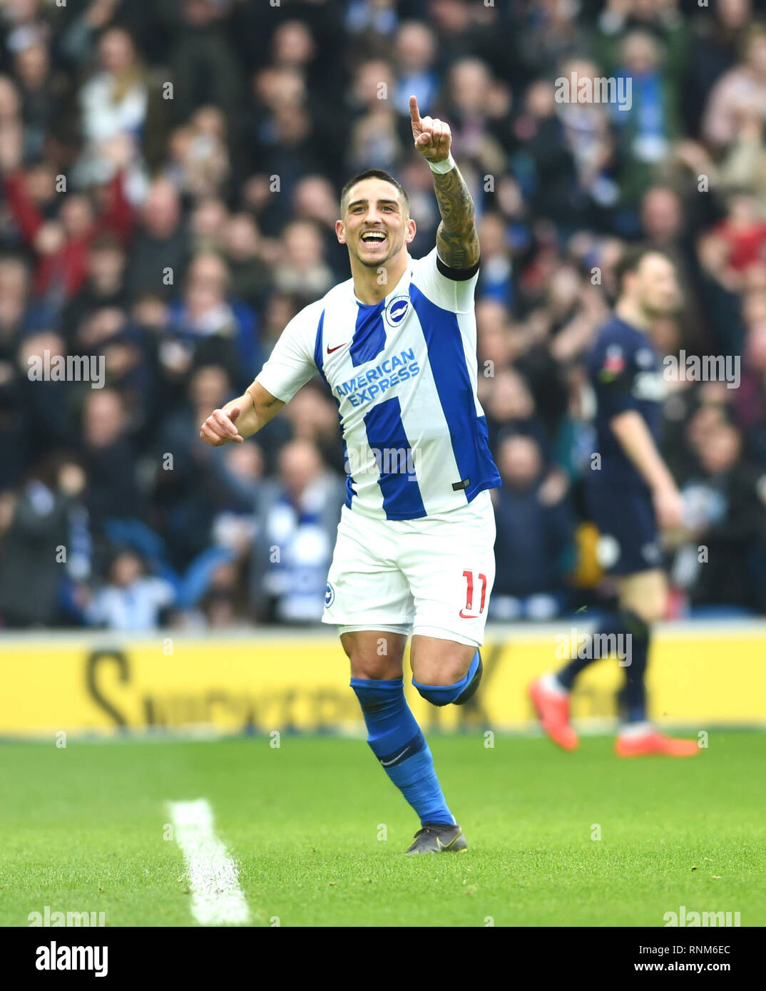 Anthony Knockaert of Brighton celebrates scoring the first goal during the FA Cup 5th round match between Brighton & Hove Albion and Derby County at the American Express Community Stadium . 16 February 2019 Editorial use only. No merchandising. For Football images FA and Premier League restrictions apply inc. no internet/mobile usage without FAPL license - for details contact Football Dataco - Stock Image