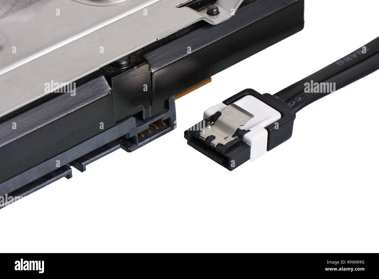 close-up of SATA (Serial AT Attachment, Serial ATA) terminal, computer bus interface to connect mass storage devices - Stock Image