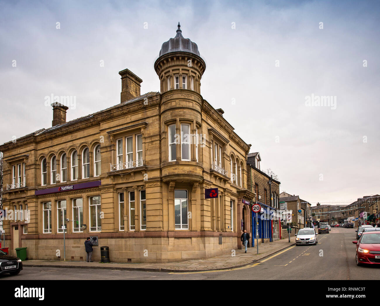 UK, England, Lancashire, Rawtenstall, Bank Street, NatWest Bank and main shopping area - Stock Image
