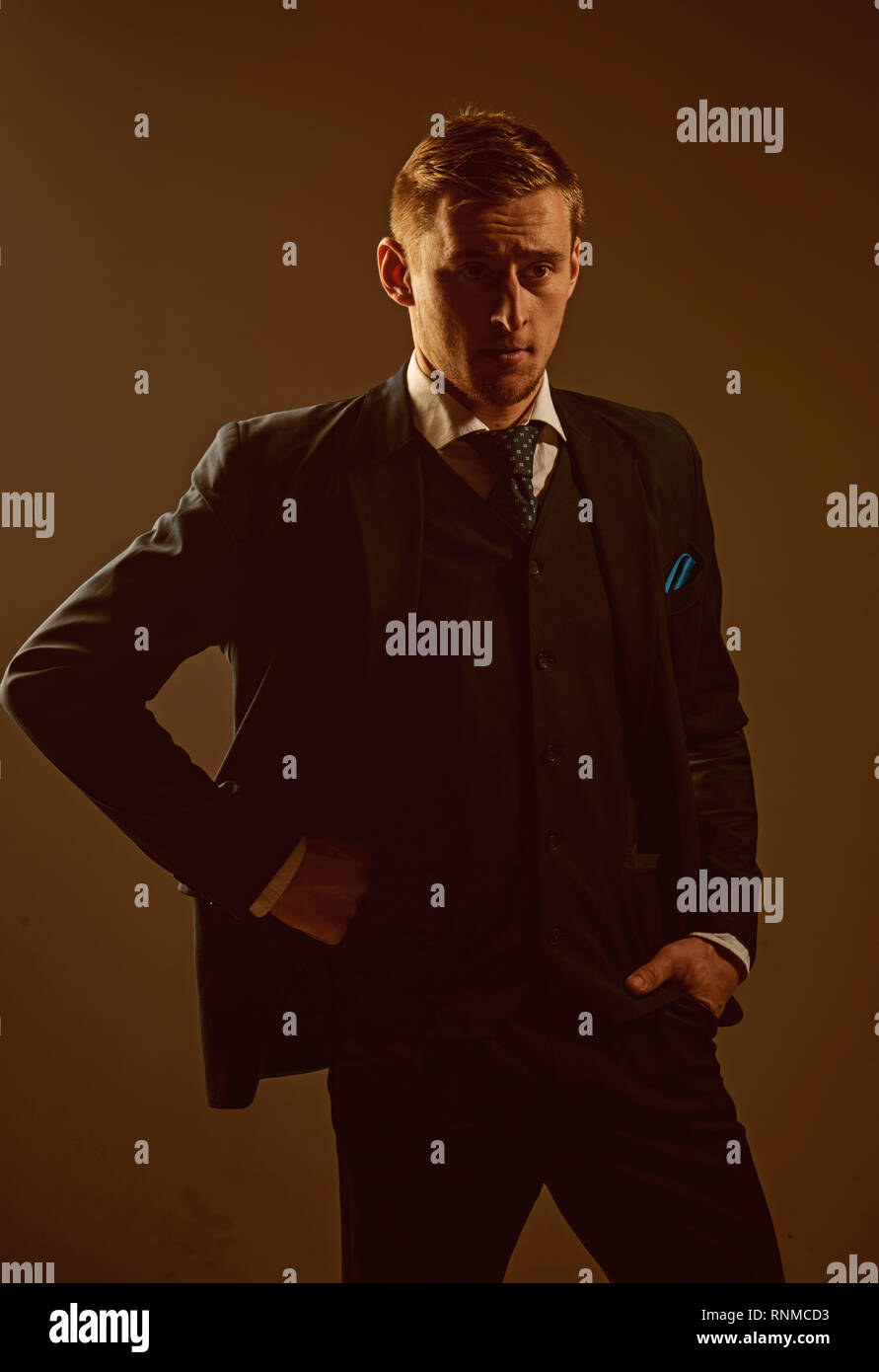 Manager concept. Office manager. Brand manager. Confident manager in formal suit. Classy in style - Stock Image