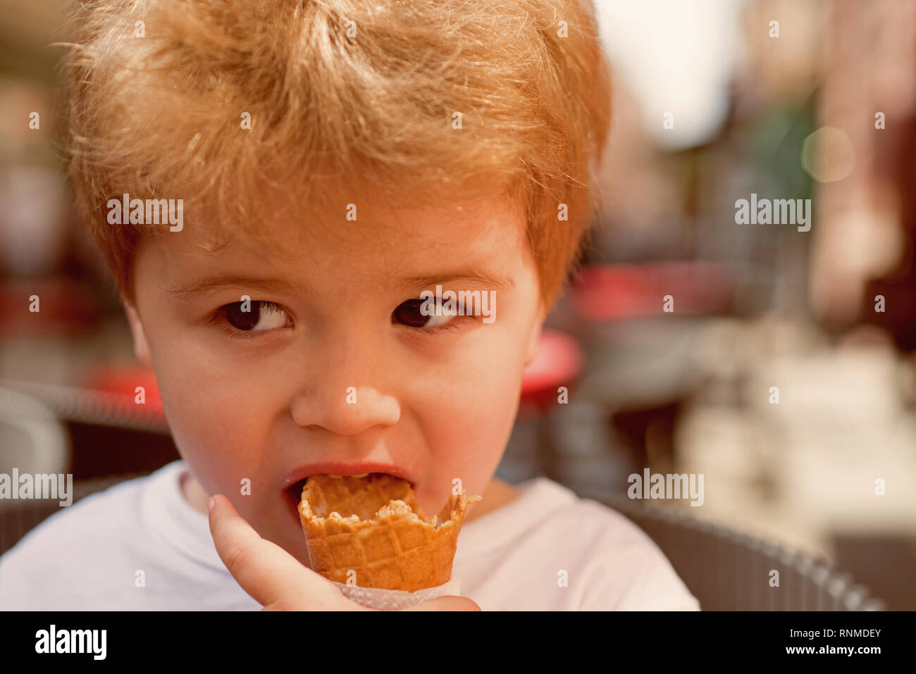 Having my hair taken care of. Little child with short blond hair. Little child eating outdoor. Small boy with stylish haircut. Healthy hair care - Stock Image