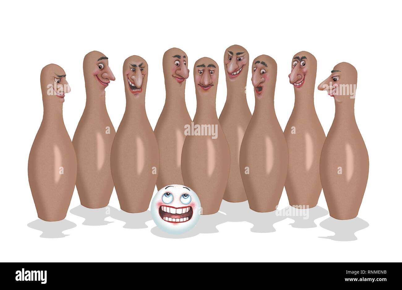Nine cones and cone ball with male faces, background white, Freisteller, Germany - Stock Image