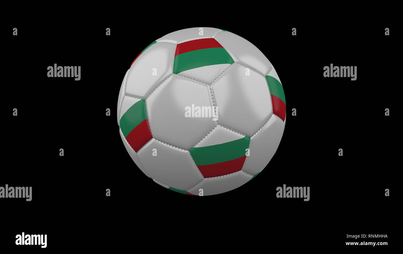 Soccer ball with the flag of Bulgaria colors rotates, 3d rendering - Stock Image