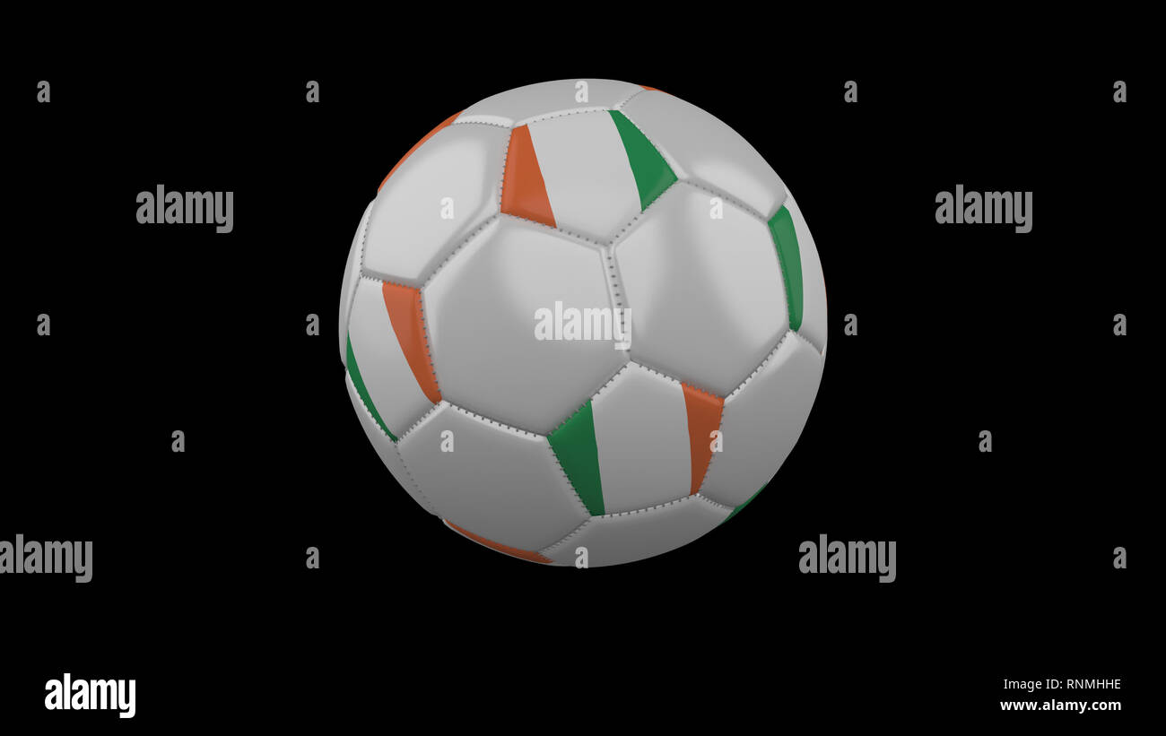 Soccer ball with the flag of Ireland colors rotates, 3d rendering - Stock Image